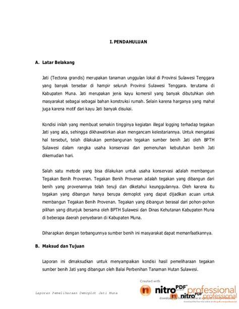 Benih Jati laporan pemeliharaan benih jati di kabupaten muna