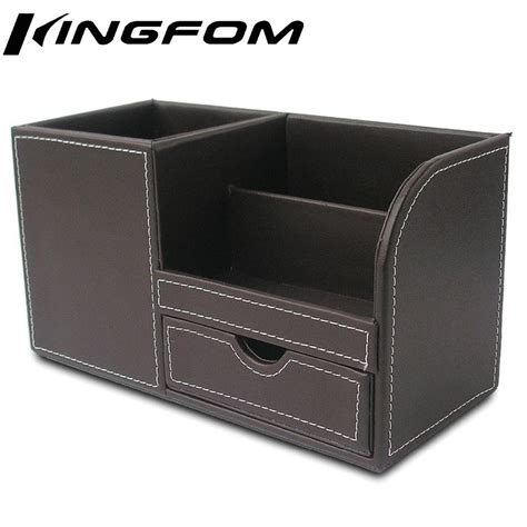 small modern leather modern leather wooden stationery organizer box pens