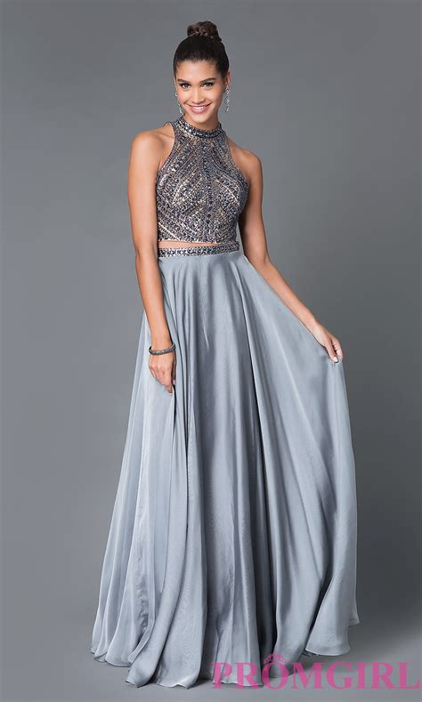 Gaun Pesta Cut Shoulder Flare 571 two jeweled high neck prom dress promgirl