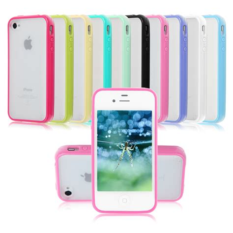 Iphone 4 4s Hardcase Tpu Pc Acrylic 0630 pc matte clear back skin with tpu bumper frame cover for iphone 4 4g 4s ebay