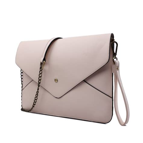 l1507 miss lulu leather look envelope clutch bag apricot