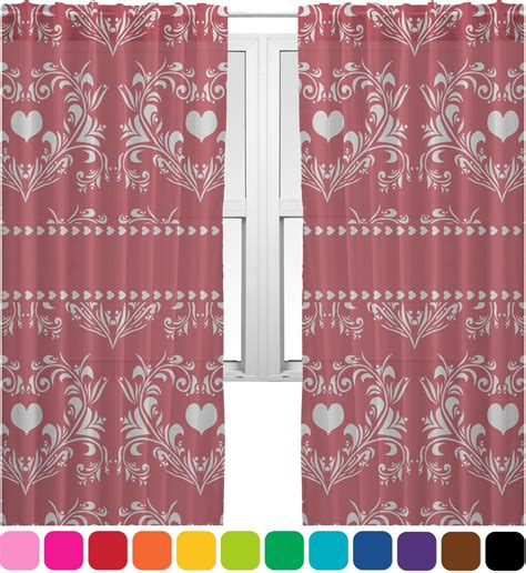 damask sheer curtains heart damask sheer curtains personalized youcustomizeit
