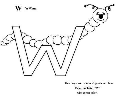 Letter W Coloring Pages Printable by Letter W Coloring Printable Page For
