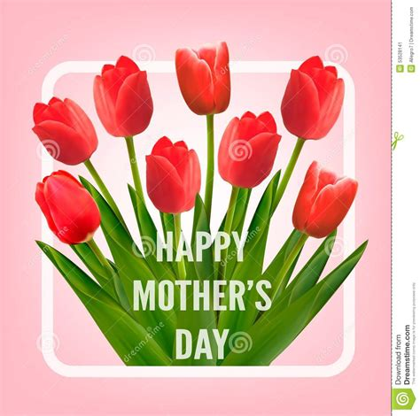 Mothers Day Gift Cards - red tulips with happy mother s day gift card stock vector image 53528141