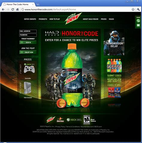 Mountain Dew Sweepstakes 2014 - mountain dew honor the code 2010 on behance