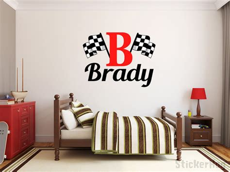 monogram decorations for bedroom boys name checkered flag racing monogram wall decal 2 nursery