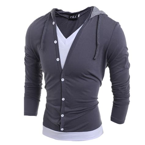 Kasual Tshirt fashion mens v neck sleeve hooded casual t shirt