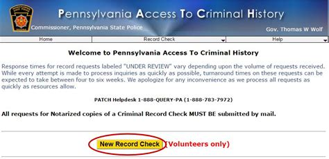 Pennsylvania State Criminal History Record Safe Sanctuary United Methodist Church
