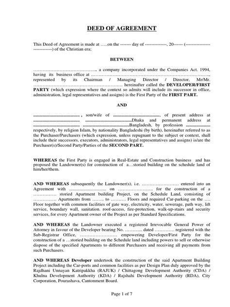 deed of agreement template sle deed of agreement for rehab docshare tips