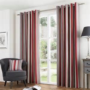 Cushion Top Mattress Sandringham Striped Lined Eyelet Curtains Red
