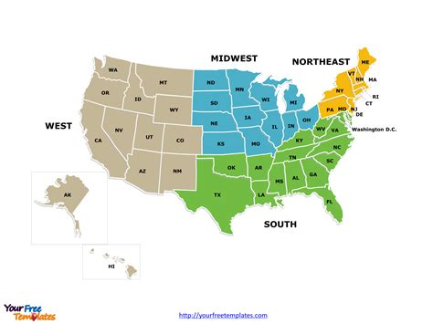 map of united states by regions free usa region powerpoint map free powerpoint templates