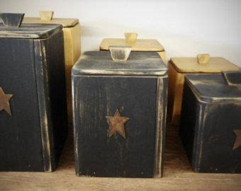primitive kitchen canister sets primitive rustic country wooden canister set by