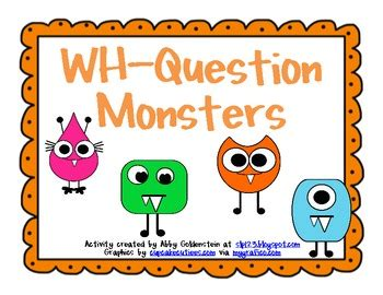 wh questions printable flash cards monster themed wh question cards by schoolhouse talk tpt