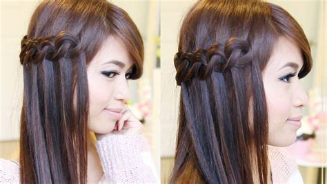 braided hairstyles tutorials youtube knotted loop waterfall braid hairstyle hair tutorial