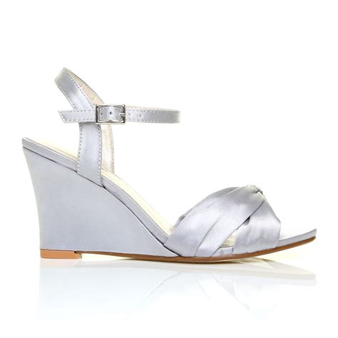 Strappy Bridal Shoes by Silver Satin Wedge High Heel Strappy Bridal Shoes Ebay