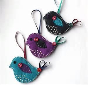 christmas bird decorations set of 3 folksy