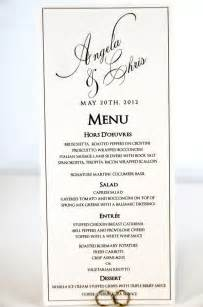 wedding menu card tea length calligraphy style