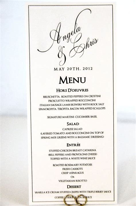 Wedding Menu Card Tea Length Calligraphy Style Menu Cards For Wedding Reception Template