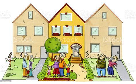 cartoon drawing   family   beautiful home stock