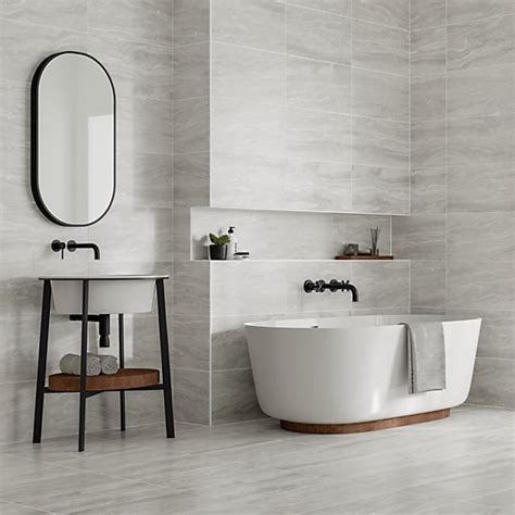 Modern Bathroom Tiles Uk by Wickes Callika Mist Grey Porcelain Tile 600 X 300mm