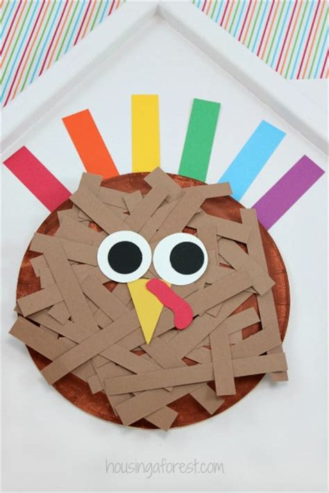 Pilgrim Paper Plate Craft - paper plate turkey housing a forest