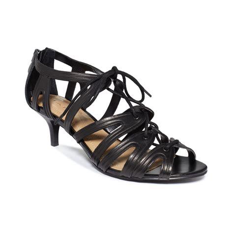 tahari sandals tahari womens darra caged sandals in black lyst