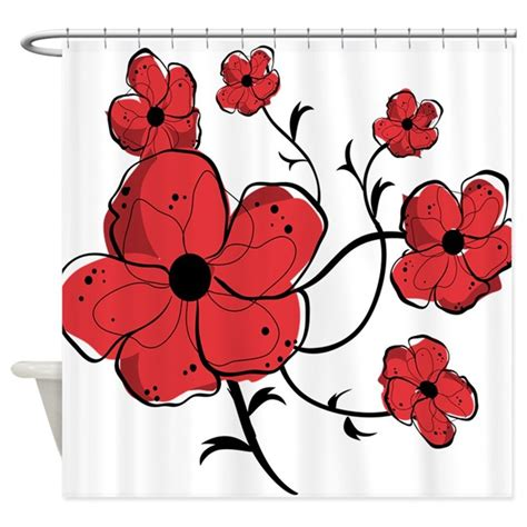 red and black floral curtains modern red and black floral design shower curtain by