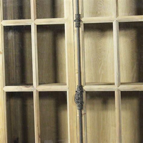 Bibliothèque vitrée bois massif petits carreaux 2 portes
