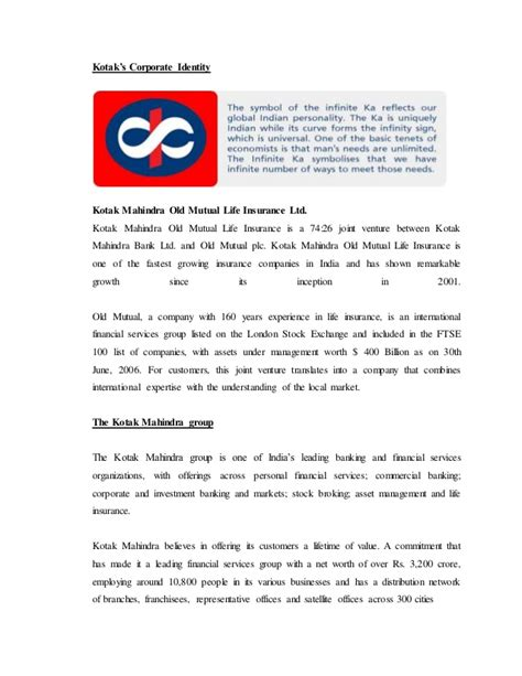 kotak mahindra insurance kotak mahindra insurance project report on