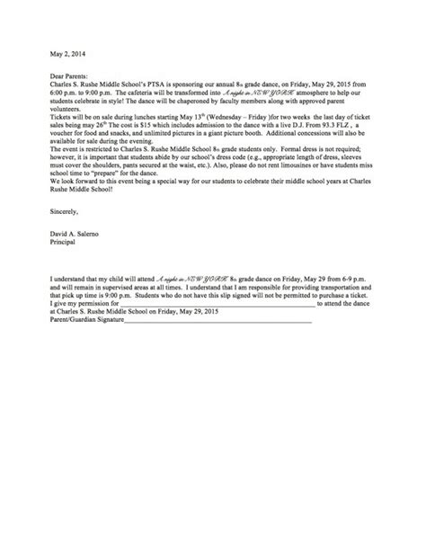 Parent Letter Middle School 8th Grade Parent Letter Charles S Rushe Middle School