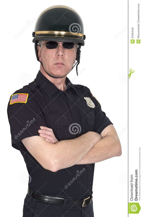 serious motorcycle cop policeman isolated stock