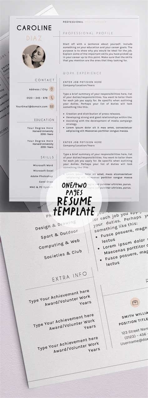 One Or Two Page Resume by New Modern Cv Resume Templates With Cover Letter