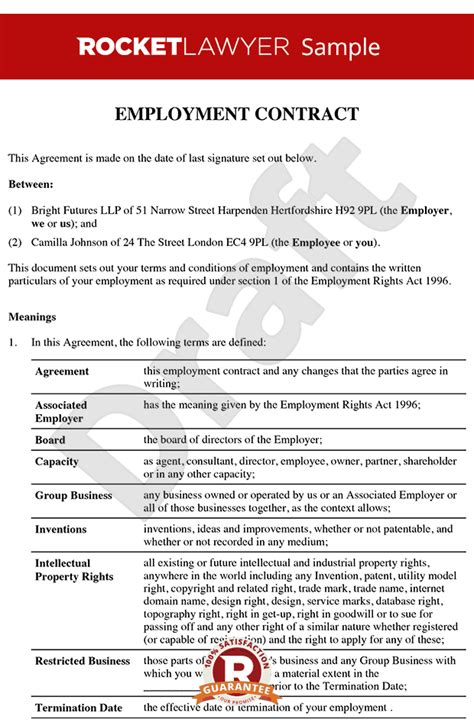 employment contract template free uk senior employment contract executive employment agreement