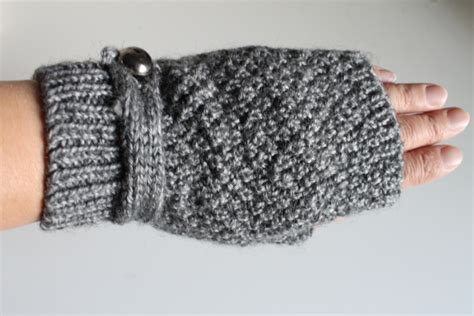 Handmade Fingerless Gloves - handmade knitted fingerless gloves grey on luulla