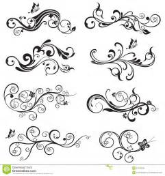 beautiful flower and butterfly silhouettes design royalty