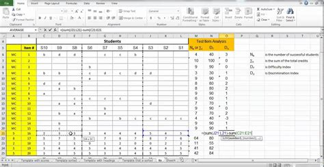 using excel test item analysis discrimination index for