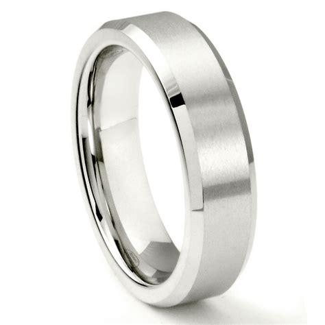 white tungsten carbide 6mm beveled wedding band ring