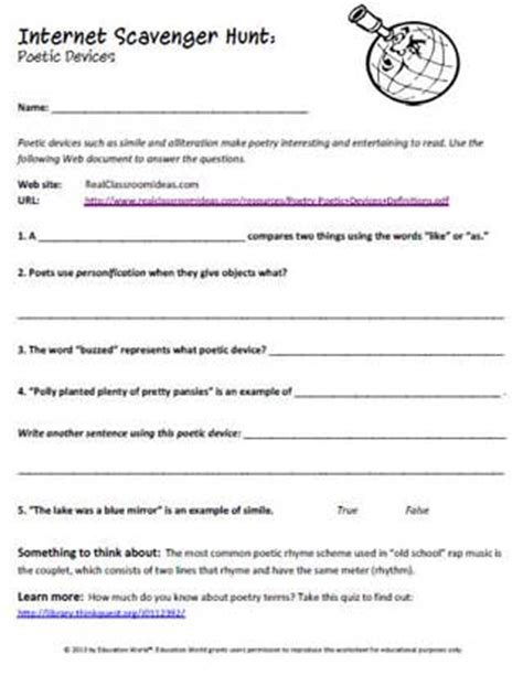 printable quiz on literary devices poetic devices worksheets for middle school middle