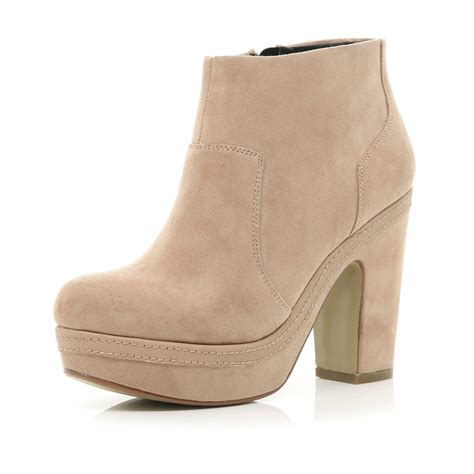 river island beige platform ankle boots in beige
