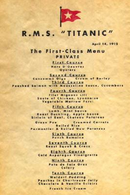 titanic first class menu last night on the titanic dinner menu tim myatt