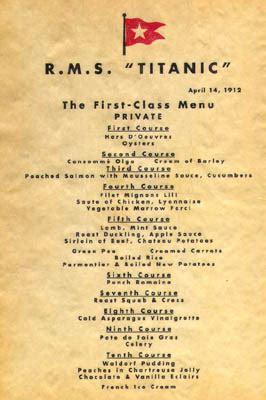 titanic menus a titanic dinner tim myatt