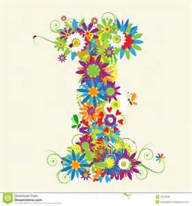 letter i floral design stock vector image of leaf
