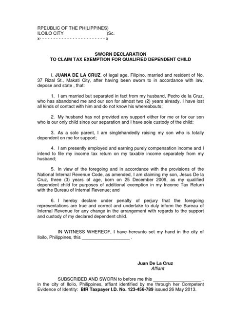 Philippines Credit Letter Affidavit To Claim Tax Exemption For Dependent Child Bir Exemption For Dependent Child Bir