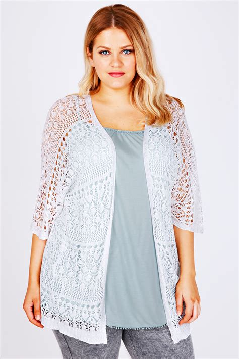 Lace Cardigan white crochet lace sleeved cardigan plus size 14 to 36