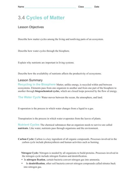 3 3 Cycles Of Matter Worksheet Answers