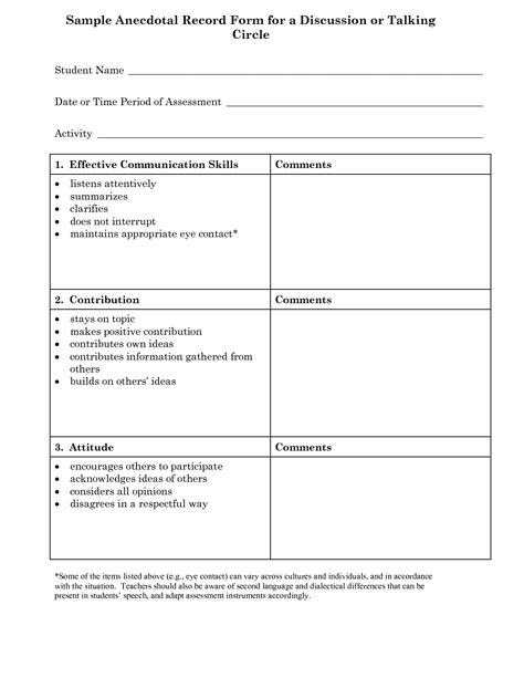 anecdotal assessment template 23 images of anecdotal notes template for teachers
