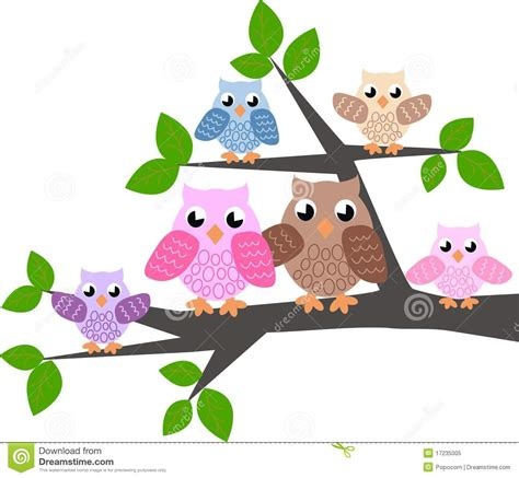 Owl And Tree Wall Stickers a cute owl family royalty free stock photo image 17235005