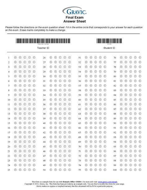 the barcode tattoo chapter questions and answers 100 question test answer sheet with barcode 183 remark software