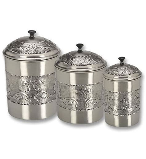 food canisters kitchen kitchen canister set embossed pewter set of 3 in