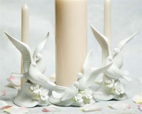 Traditional Dove Wedding Unity Candle Holder   Wedding